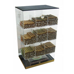 ROOSEVELT - Acrylic Display Cigar Humidor Cabinet - Holds 250 Cigars - 9 Bins - Humidifier & Hygrometer - Retail Cabinet - Shades of Havana