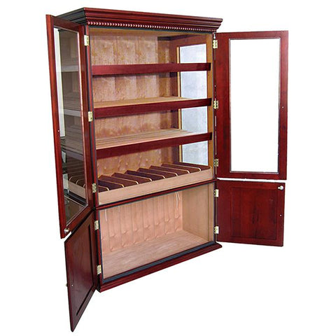 SAINT REGIS - Cigar Humidor Cabinet - Holds 4000 Cigars - Cherry Wood Finish - 6 Large Oblong Humidifiers - Hygrometer - Spanish Cedar Lined - Shades of Havana