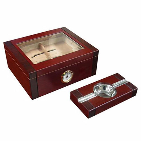 SOVEREIGN - 2-Tone Cherry & Rosewood Humidor - Holds 50 Cigars - External Hygrometer & Humidifier - Shades of Havana