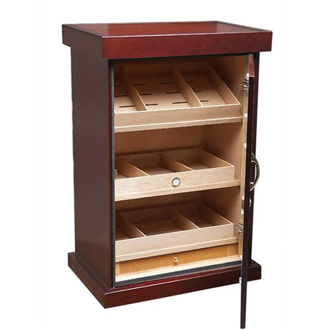 SPARTACUS - Cigar Humidor Cabinet - Holds 1000 Cigars - Cherry Finish - 12 Humidifiers - Built In External Hygrometer - Shades of Havana