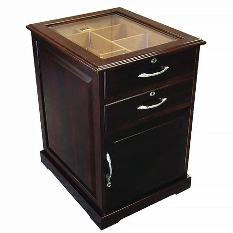 SANTIAGO - Walnut End Table Humidor - Holds 700 Cigars - With Drawers & Digital Hygrometer - Shades of Havana