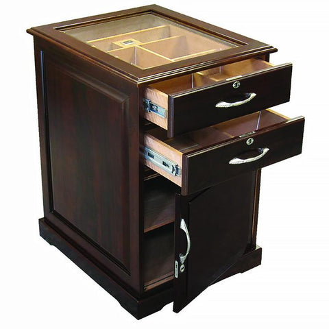 Santiago 700 Cigar End Table Humidor | Elegant Walnut Finish