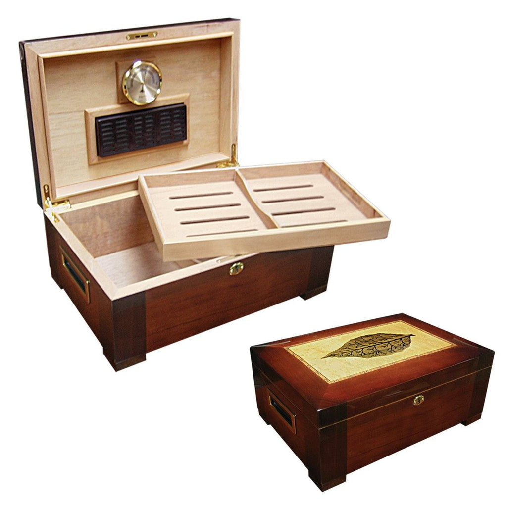 Stetson 150 Cigar Humidor | High Gloss Leaf Inlay - Shades of Havana