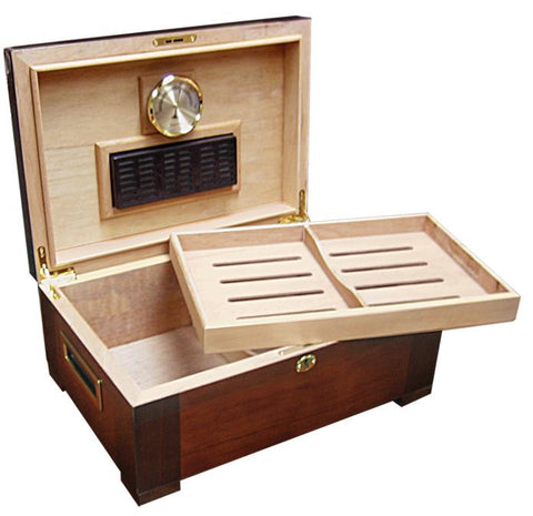 Image of STETSON - High Gloss Humidor - Holds 150 Cigars - With Tray & Tobacco Leaf Inlay - Shades of Havana