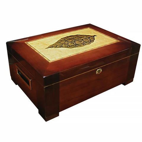 STETSON - High Gloss Humidor - Holds 150 Cigars - With Tray & Tobacco Leaf Inlay - Shades of Havana