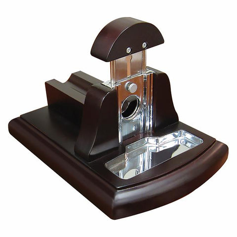 Image of TABLETOP GUILLOTINE CIGAR CUTTER - Walnut Desktop Guillotine Cutter - With Tobacco Catch Tray - Shades of Havana