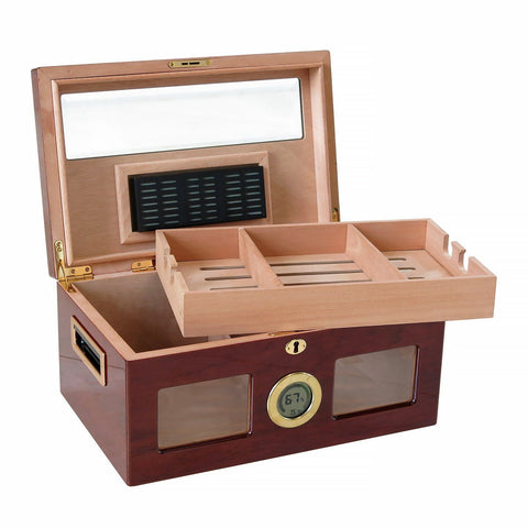 Image of VALENCIA DIGITAL - Cherry Finish Lacquer Humidor - Holds 120 Cigars - With Beveled Glass & Exterior Digital Hygrometer - Shades of Havana