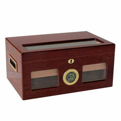 VALENCIA DIGITAL - Cherry Finish Lacquer Humidor - Holds 120 Cigars - With Beveled Glass & Exterior Digital Hygrometer - Shades of Havana