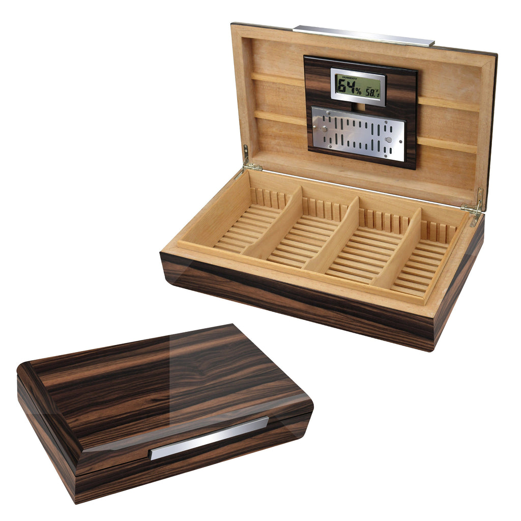 VANDERBILT - Lacquered Ebony Wood Humidor - Holds 120 Cigars - With Slotted Divider System - Shades of Havana