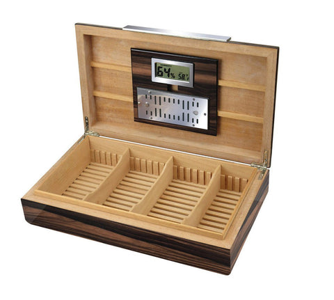 Image of VANDERBILT - Lacquered Ebony Wood Humidor - Holds 120 Cigars - With Slotted Divider System - Shades of Havana