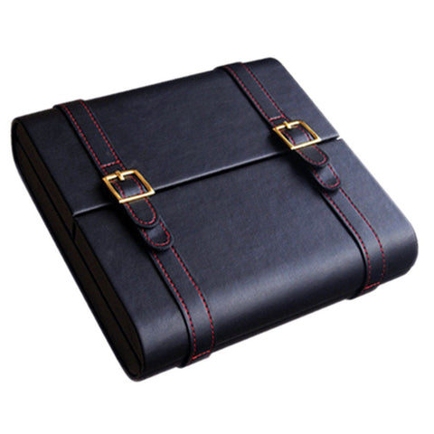 Augustus - Black Leather Traveler Humidor - Gold Buckles & Red Stitching - Prestige Imports - Shades of Havana