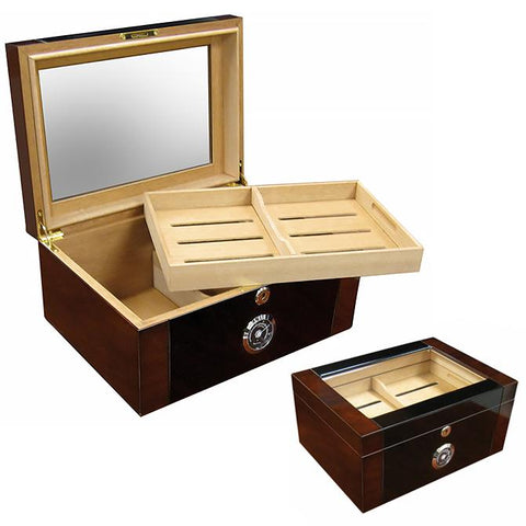 BERKELEY II - Cigar Humidor - 2 Tone Mahogany Finish - Glass Top - Holds 100 Cigars - With External Black Hygrometer - Shades of Havana