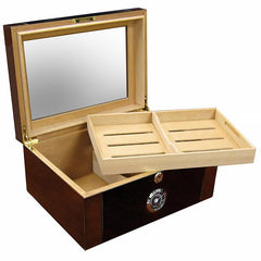 Berkeley II - Cigar Humidor Glass Top & Mahogany Finish - 100 Cigars - Prestige Imports