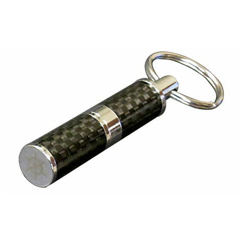 Image of Bullet Cigar Punch Cutter - Polished Carbon Fiber & Chrome Bullet Cutter - Gift Box Included - Plated Accents - Shades of Havana