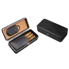 Bayamo - 3 Cigar Folding Leather Travel Case - With Cigar Cutter