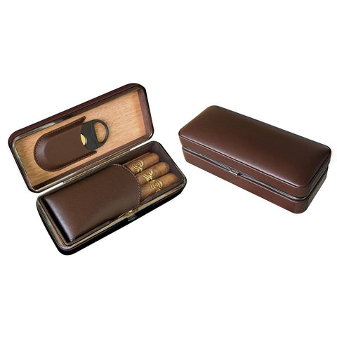 Image of Bayamo Leather Travel Cigar Case -  3 Cigar - Folding With Cigar Cutter - Shades of Havana