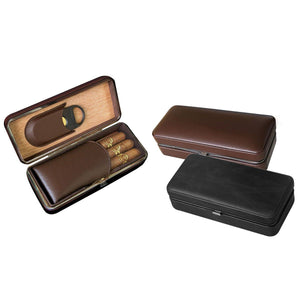 Bayamo Leather Travel Cigar Case -  3 Cigar - Folding With Cigar Cutter - Shades of Havana