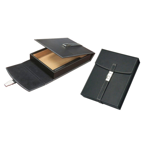 Image of Florence Travel Humidor 10 Cigar Black Leather With Humidifier - Shades of Havana