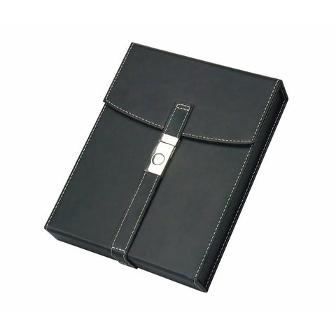 FLORENCE - 10 Cigar Black Leather Travel Humidor - With Chrome Buckle - Humidifier - Shades of Havana