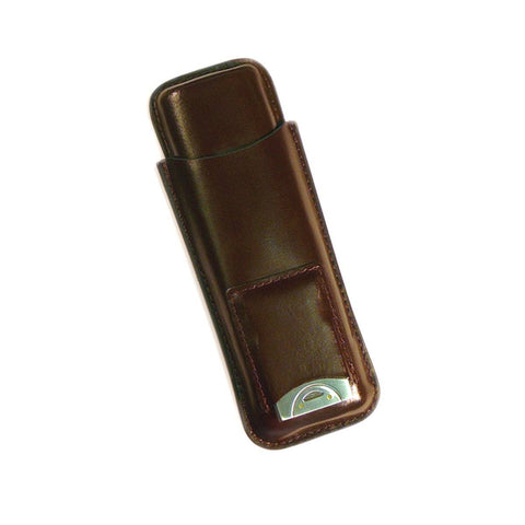 LANDOR - 2 Cigar Leather Case - With Cigar Cutter - Shades of Havana