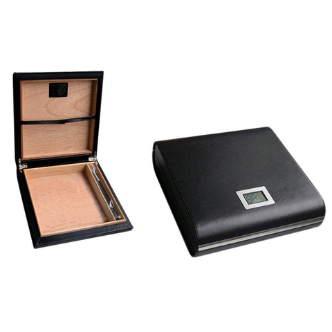Marquis Black Leather Travel Humidor | 20 Cigar Count - Shades of Havana