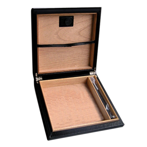 Image of Marquis Black Leather Travel Humidor | 20 Cigar Count - Shades of Havana