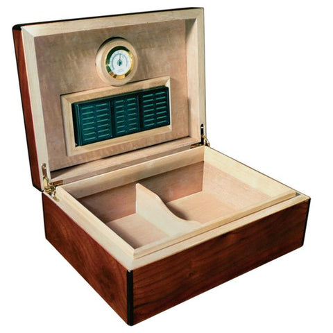 NAPOLI - Cigar Humidor - High Gloss Walnut Burl Finish - Holds 75 Cigars - With Arched Top - Humidifier & Hygrometer - Shades of Havana