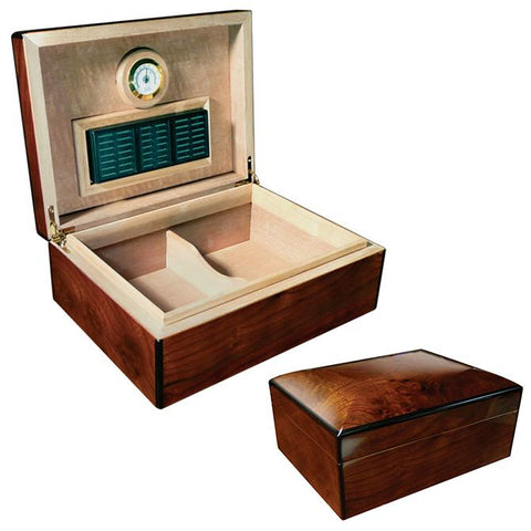 Napoli - Cigar Humidor - Walnut Burl Finish - 75 Cigars - Prestige Import - Shades of Havana