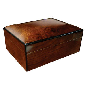 Napoli Wood Humidor 75 Cigar Count | Walnut Burl Finish - Shades of Havana