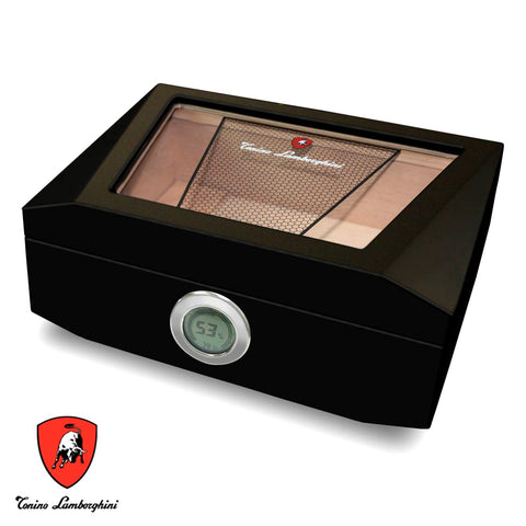 Monte Carlo - Matte Black Cigar Humidor For 100 Cigars - Tonino Lamborghini - Shades of Havana
