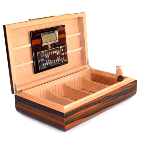 Image of Vanderbilt Electronic Humidor - Ebony Wood Finish 120 Cigar Capacity - Shades of Havana