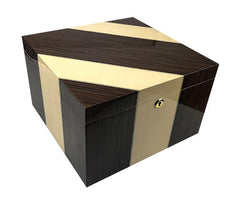 VICEROY - Cross-Inlaid Maple & Iron Wood High Lacquer Finish - Holds 110 Cigars - With Magnetic Divider System - Shades of Havana