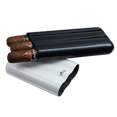 Agent - White & Black Carbon Fiber Cigar Case - 3 Fingers - Visol - Shades of Havana
