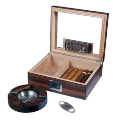 Aidan - Glass Top Humidor Gift Set with Cutter & Ashtray - Visol