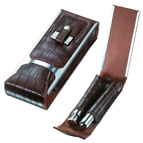 Image of Alton Brown Leather Cigar Case, Cutter & Flask Kit - Shades of Havana