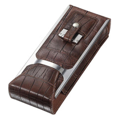 Alton - Brown Leather Cigar Case, Cutter & Flask Set - Visol - Shades of Havana