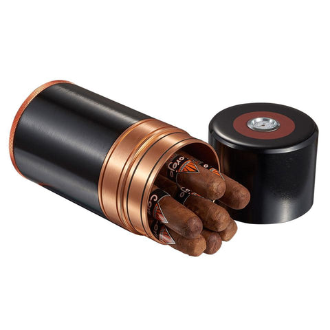 Big Joe 7 Metal Travel Humidor Tube | Black with Copper Trim - Shades of Havana