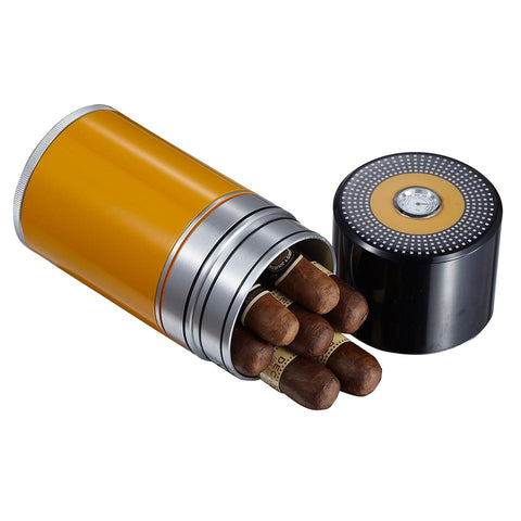 Big Joe 7 Metal Travel Humidor Tube | Black and Yellow - Shades of Havana