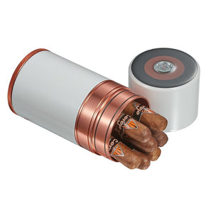 Big Joe 7 Metal Travel Humidor Tube | White & Copper - Shades of Havana