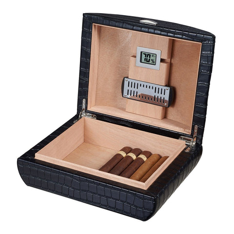 Image of Blake Black Leather Humidor | Crocodile Pattern 35 Cigars - Shades of Havana