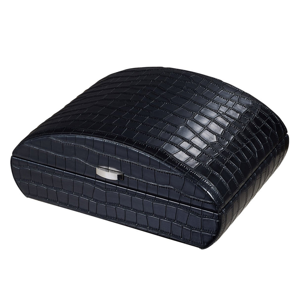 Blake Black Leather Humidor | Crocodile Pattern 35 Cigars - Shades of Havana
