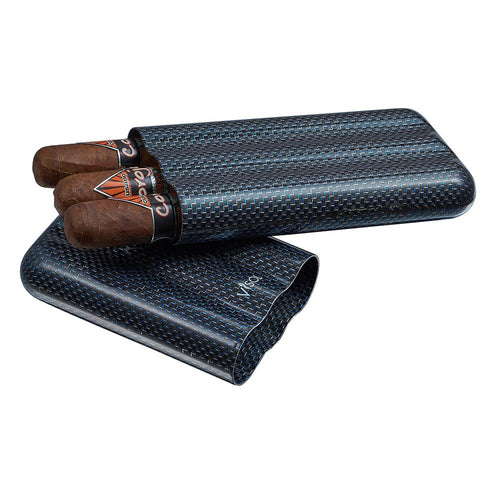 Image of Carbon Fiber Cigar Case | 3 Finger Blue Kevlar - Shades of Havana