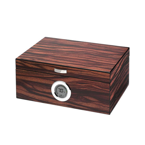 Brawley Electronic Humidor 75 Cigar Count | Macassar Finish - Shades of Havana