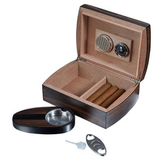 Burkhard - Wood Humidor Set with Ashtray and Cutter - Visol - Shades of Havana