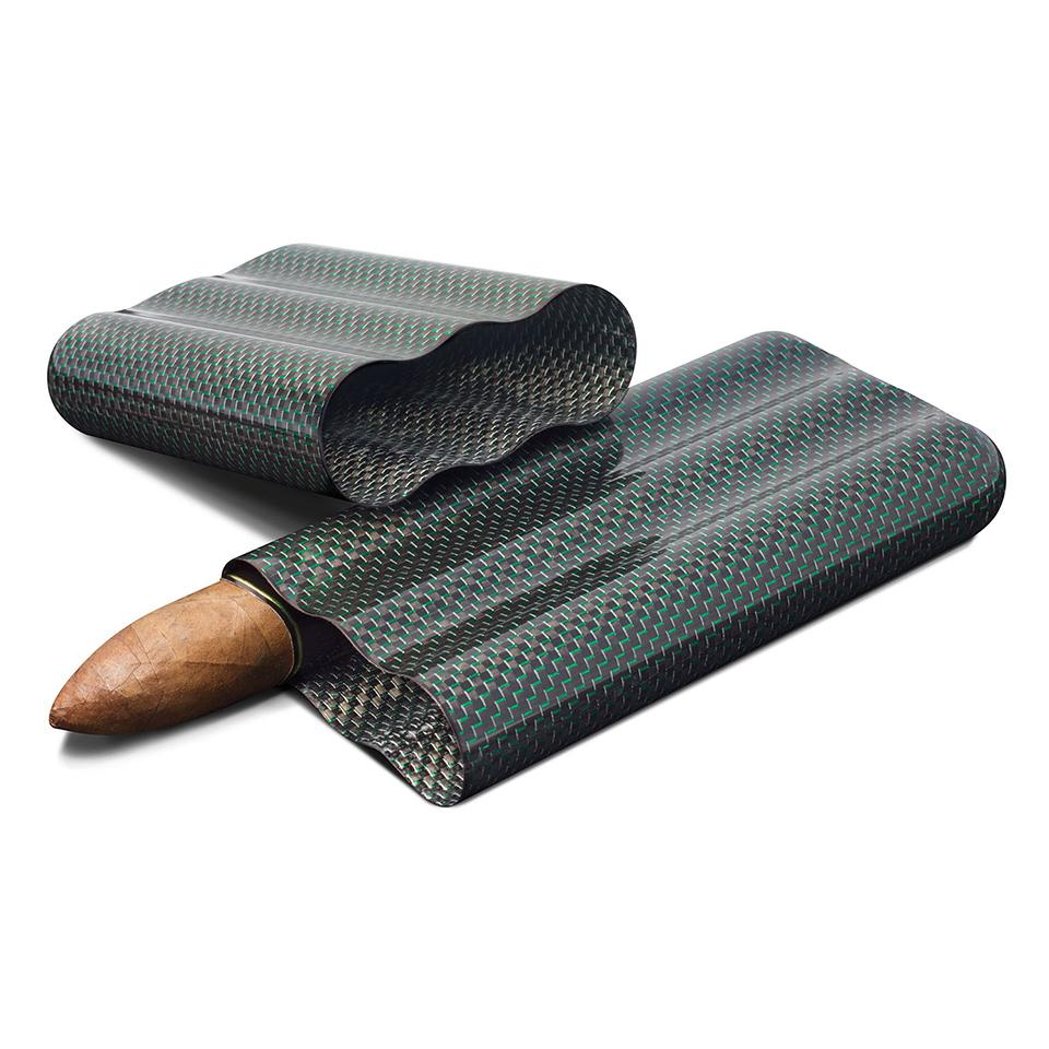 Cartenium 3 Finger Carbon Fiber Cigar Case Titanium - Shades of Havana