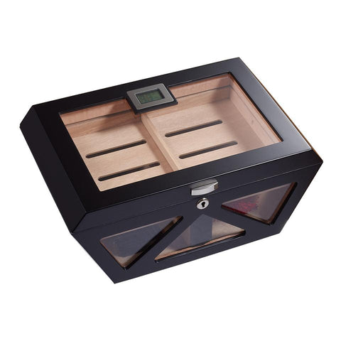Collin Glass Top Electronic Humidor | 100 Cigar Count Matte Black - Shades of Havana