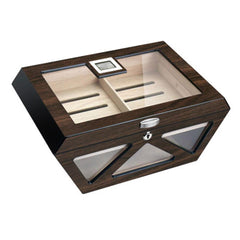 Collin Glass Top Humidor 100 Cigar Count | Macassar Finish - Shades of Havana