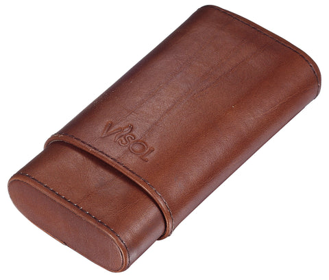 Image of Cuero 3 Finger Genuine Leather Cigar Case - Shades of Havana