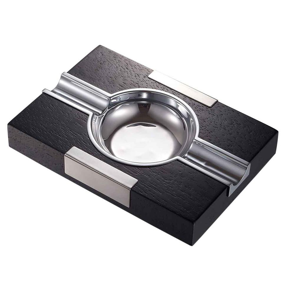 Cusco Cigar Ashtray Black Wood With Chrome - Shades of Havana