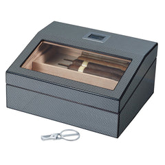 Darnell - Polished Carbon Fiber Pattern Cigar Humidor - 40 Cigars - Visol - Shades of Havana
